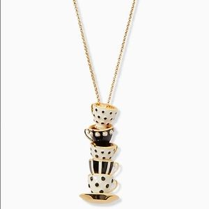 ♠️Kate Spade X Disney Alice in Wonderland Stacked Teacup  Pendant Necklace NWT